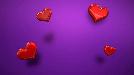 Closeup romantic small hearts on Valentines day shiny background. Luxury and elegant style 3D illustration for holiday 免版税图像