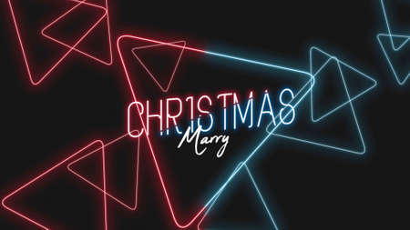 Merry Christmas on fashion and club background with glowing triangles. Elegant and luxury 3d illustration for club and entertainment template