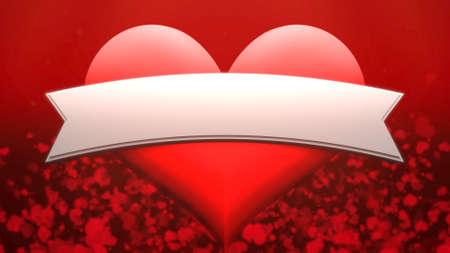 Closeup romantic big ans small heart on Valentines day shiny background. Luxury and elegant style 3D illustration for holiday