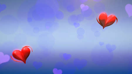 Closeup romantic hearts on Valentines day shiny background. Luxury and elegant style 3D illustration for holiday 免版税图像