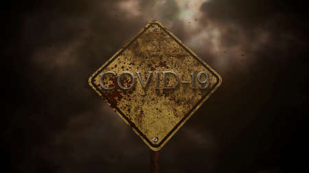 Closeup text Covid-19 and mystical horror background with road sign and dark blood, abstract backdrop. Luxury and elegant 3d illustration of horror theme 免版税图像