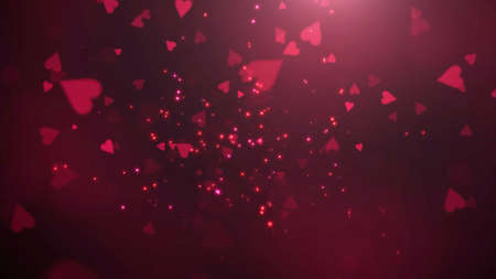Closeup romantic heart and glitter on Valentines day shiny background. Luxury and elegant style 3D illustration for holiday