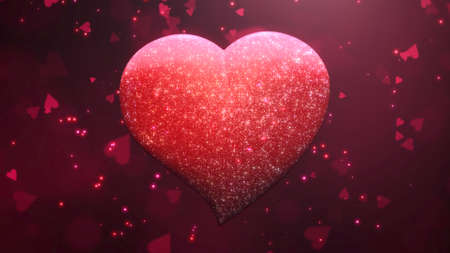 Closeup romantic big heart and glitters on Valentines day shiny background. Luxury and elegant style 3D illustration for holiday 免版税图像