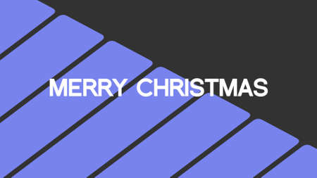 Text Merry Christmas on blue fashion and minimalism background with stripes. Elegant and luxury 3d illustration for business and corporate template