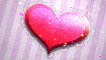 Closeup romantic big heart on Valentines day shiny background. Luxury and elegant style 3D illustration for holiday