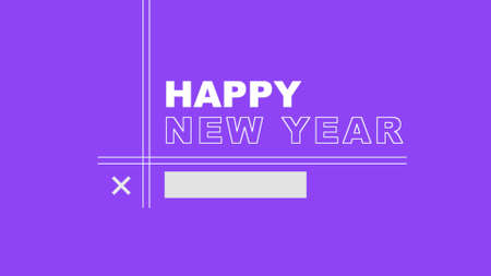 Text Happy New Year on purple fashion and minimalism background with lines. Elegant and luxury 3d illustration for business and corporate template 免版税图像