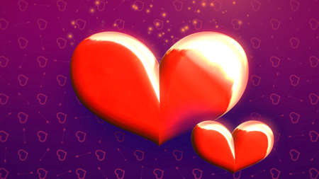 Closeup romantic big hearts and glitters on Valentines day shiny background. Luxury and elegant style 3D illustration for holiday