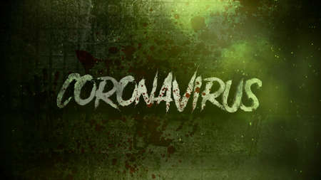 Closeup text Coronavirus and mystical horror background with dark blood and toxic, abstract backdrop. Luxury and elegant 3d illustration of horror theme 免版税图像