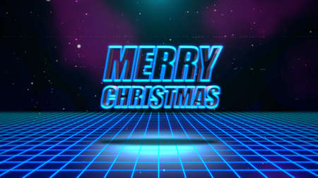 Text Merry Christmas and abstract grid, retro background. Elegant and luxury dynamic style for club and entertainment 3d illustration 免版税图像