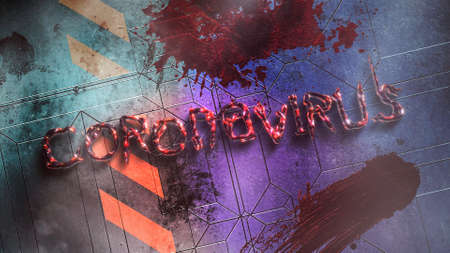 Closeup text Coronavirus and mystical horror background with dark blood on wall, abstract backdrop. Luxury and elegant 3d illustration of horror theme