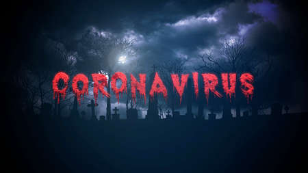 Closeup text Coronavirus and mystical background with dark clouds and grave on cemetery, abstract backdrop. Luxury and elegant 3d illustration style of horror theme 免版税图像