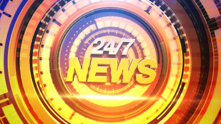 Text 24 News and news graphic with lines and circular shapes in studio, abstract background. Elegant and luxury 3d illustration style for news template