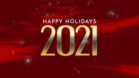 Closeup 2021 and Happy Holidays text with fly confetti and glitter on holiday background. Luxury and elegant 3d illustration style template for winter holiday