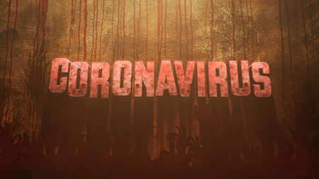 Closeup text Coronavirus and mystical horror background with dark blood and help hands, abstract backdrop. Luxury and elegant 3d illustration of horror theme