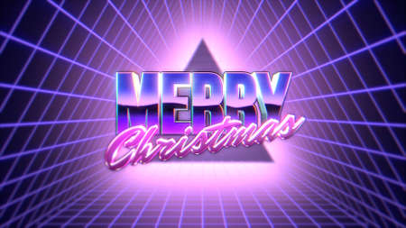 Text Merry Christmas and abstract triangle with grid, retro background. Elegant and luxury dynamic style for club and entertainment 3d illustration
