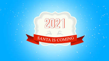 Closeup Santa is Coming and 2021 text, fly white snowflakes and deer on snow background with with retro banner. Luxury and elegant 3d illustration style template for winter holiday 免版税图像