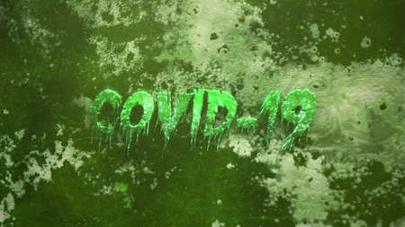 Closeup text Covid-19 and mystical horror background with dark blood and toxic, abstract backdrop. Luxury and elegant 3d illustration of horror theme