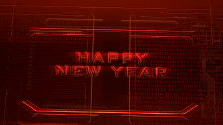 Text Happy New Year and cyberpunk background with computer matrix and grid. Modern and futuristic 3d illustration for cyberpunk and cinematic theme