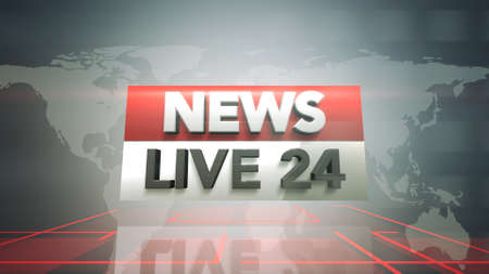 Text News Live 24 and news graphic with lines and world map in studio, abstract background. Elegant and luxury 3d illustration style for news template