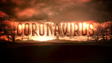 Closeup text Coronavirus and mystical animation halloween background with dark clouds and mountains, abstract backdrop. Luxury and elegant 3d illustration of horror theme