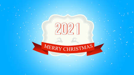 Closeup Merry Christmas and 2021 text, fly white snowflakes and deer on snow background with with retro banner. Luxury and elegant 3d illustration style template for winter holiday