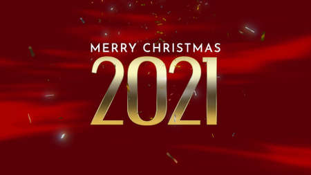 Closeup 2021 and Merry Christmas text with fly confetti and glitter on holiday background. Luxury and elegant 3d illustration style template for winter holiday