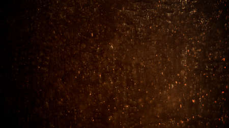 Motion smoke and gold particles on grunge wall, dark cinematic background. Luxury and elegant 3d illustration of cinema theme