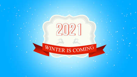 Closeup Winter is Coming and 2021 text, fly white snowflakes and deer on snow background with with retro banner. Luxury and elegant 3d illustration style template for winter holiday 免版税图像