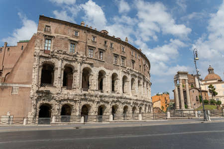 Panoramic view of city Rome with Roman forum and Theatre of Marcellus (Teatro Marcello) is an ancient open-air theatre in Rome