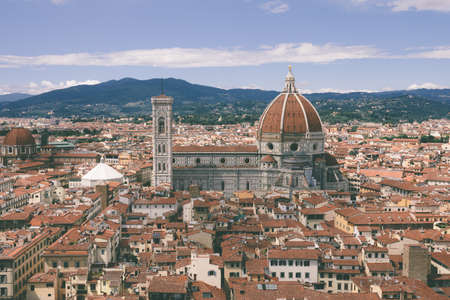 Aerial panoramic view of old city of Florence and Cattedrale di Santa Maria del Fiore (Cathedral of Saint Mary of the Flower) from Palazzo Vecchio Imagens