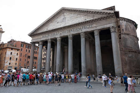 Rome, Italy - June 21, 2018: Panoramic view of exterior of the Pantheon, also known as temple of all the gods. It is a former Roman temple, now a church in Rome Imagens