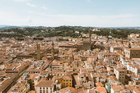 Aerial panoramic view of city of Florence from cupola of Florence Cathedral (Cattedrale di Santa Maria del Fiore)