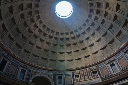 Rome, Italy - June 21, 2018: Panoramic view of interior of the Pantheon, also known as temple of all the gods. It is a former Roman temple, now a church in Rome