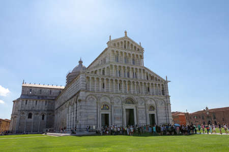Pisa, Italy - June 29, 2018: Panoramic view of Pisa Cathedral (Cattedrale Metropolitana Primaziale di Santa Maria Assunta) is Roman Catholic cathedral dedicated to the Assumption of the Virgin Mary Editorial