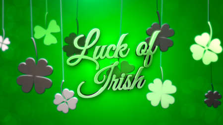 Luck of Irish text and small green shamrocks with lines on Saint Patrick Day shiny background. Luxury and elegant 3D illustration style for holiday theme Stock Photo