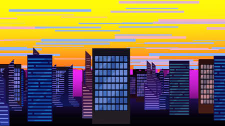 Cartoon background with motion clouds and buildings, abstract cityscape backdrop. Luxury and elegant 3D illustration of cartoon or kids theme