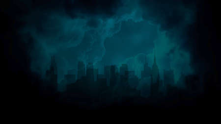 Cinematic theme with cloud, rain and city on dark background. Luxury and grunge style of cinema theme, 3D illustration Zdjęcie Seryjne