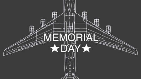 Text Memorial Day on military background with airplane. Elegant and luxury 3d illustration for military and warfare template