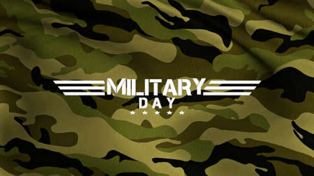 Text Military Day on military background with stars and defense pattern. Elegant and luxury 3d illustration for military and warfare template Zdjęcie Seryjne