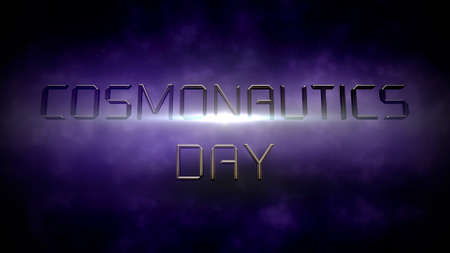 Closeup Cosmonautics Day text with motion neon lights and magic clouds in galaxy, abstract futuristic background. Elegant and luxury 3D illustration style for cosmos and sci-fi theme