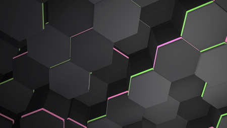 Dark big black hex grid background, abstract background. Elegant and luxury style 3D illustration for business and corporate template