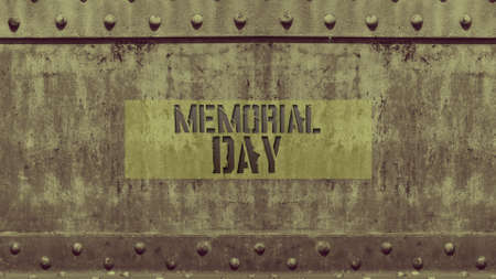 Text Memorial Day on military steel background. Elegant and luxury 3d illustration for military and warfare template