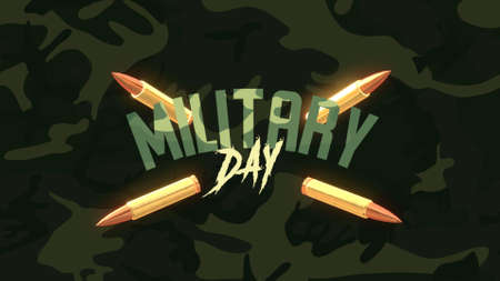 Text Military Day on green military background with patrons. Elegant and luxury 3d illustration for military and warfare template