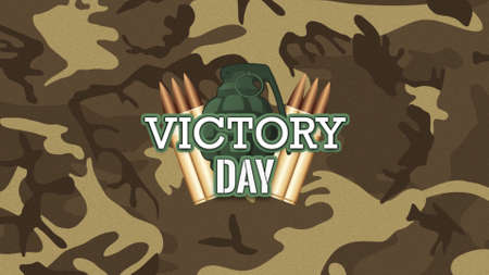 Text Victory Day on military background with patrons and grenade. Elegant and luxury 3d illustration for military and warfare template Zdjęcie Seryjne