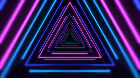 Colorful neon lines and triangles, abstract background. Elegant and luxury dynamic club style 3D illustration Zdjęcie Seryjne