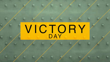 Text Victory Day on green military steel background. Elegant and luxury 3d illustration for military and warfare template