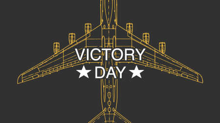 Text Victory Day on military background with airplane. Elegant and luxury 3d illustration for military and warfare template
