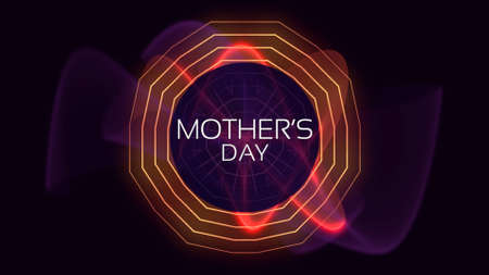 Text Mothers Day on fashion and club background with neon red waves. Elegant and luxury style 3d illustration for club and entertainment template