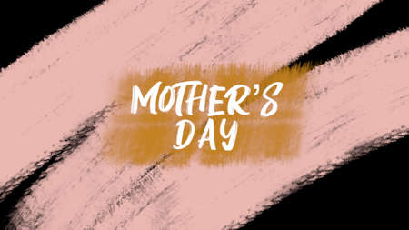 Animation text Mother Day on orange fashion and brush background. Elegant and luxury style 3d illustration for holiday and promo template