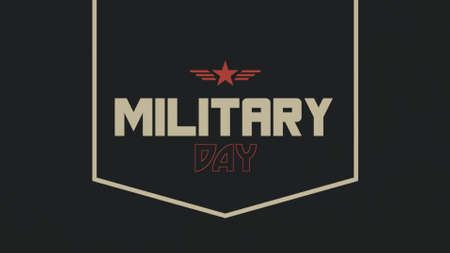 Text Military Day on military background with red star and gold stamp. Elegant and luxury 3d illustration for military and warfare template